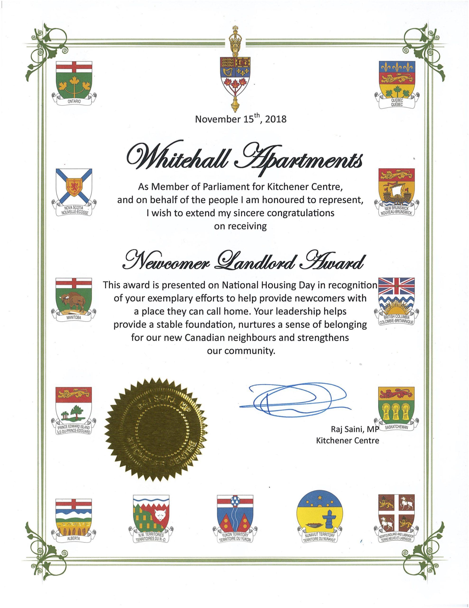 Newcomer Landlord Award 2018